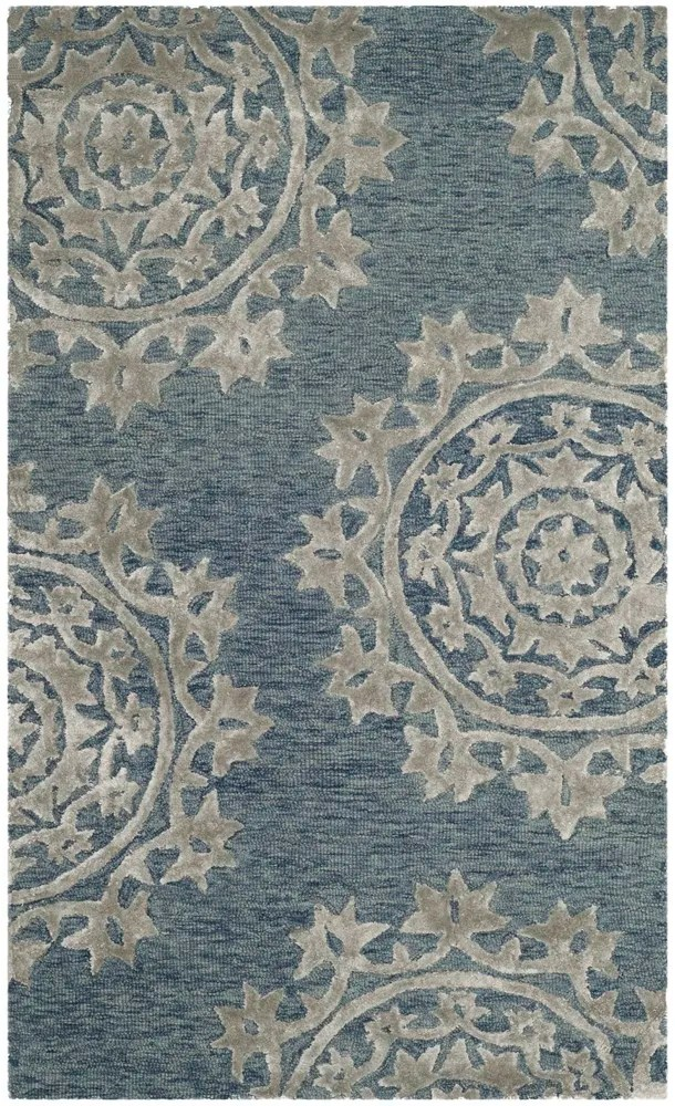 Mcguire Hand-Tufted Blue Indoor Area Rug Rug Size: Rectangle 3' x 5'