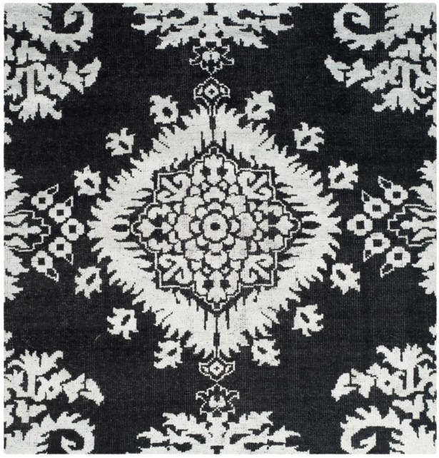 Bottesford Hand-Knotted Charcoal Area Rug Rug Size: Square 6'