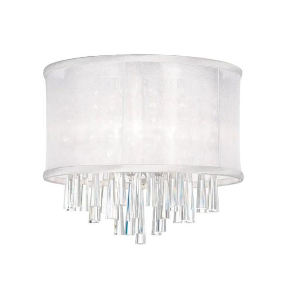 Starlee 3-Light Crystal Flush Mount Shade Color: White