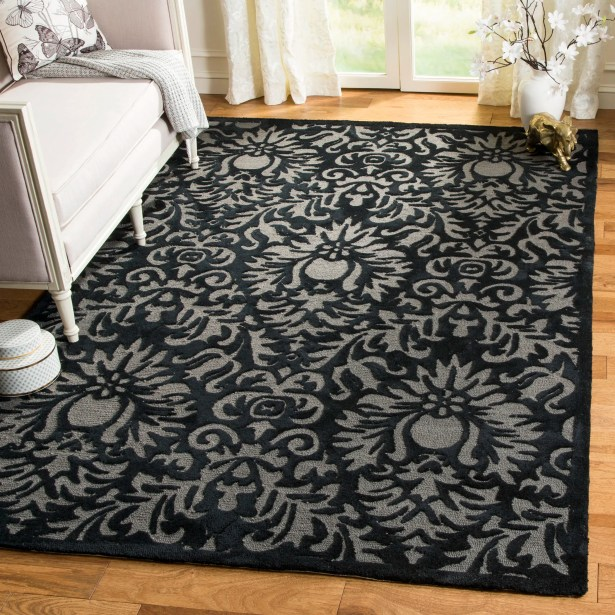 Kuhlman Hand-Hooked Black Area Rug Rug Size: Rectangle 3' x 5'