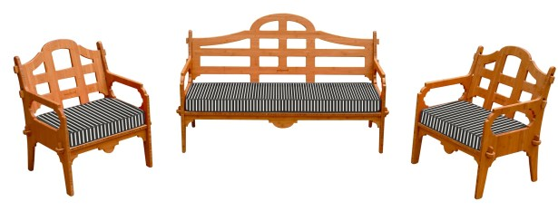 Burliegh 3 Piece Sofa Set with Cushions Fabric: Black/White