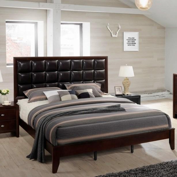 Gloria Wood Panel Bed Size: Queen, Color: Brown Cherry
