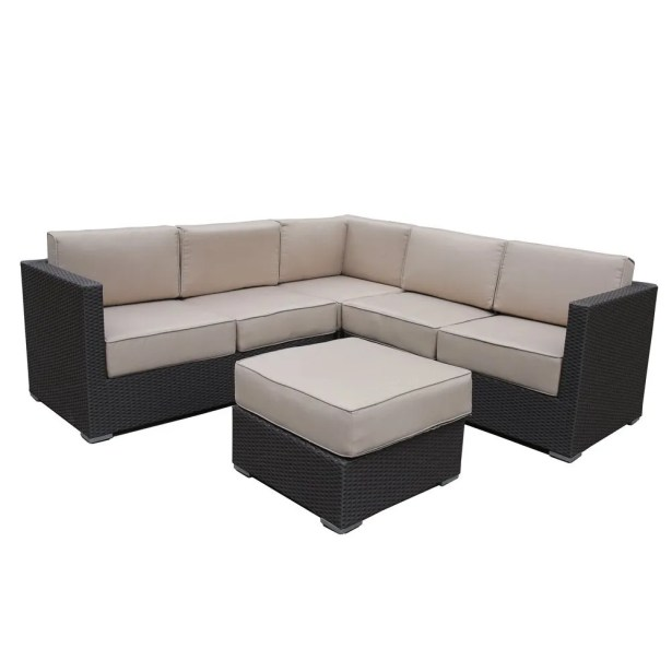 All-Weather Outdoor Wicker 4 Piece Rattan Sectional Set with Cushions