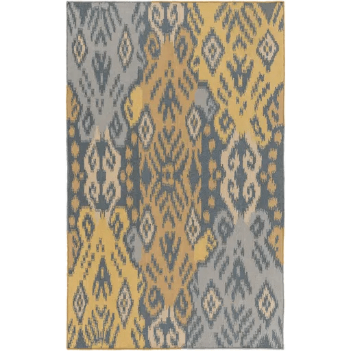 Evelyn Hand-Woven Teal/Gold Area Rug Rug Size: Rectangle 9' x 13'