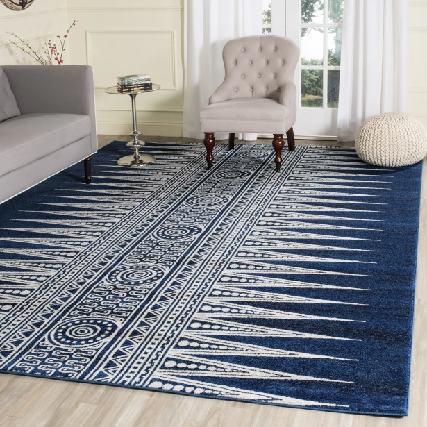 Elson Royal/Ivory Area Rug Rug Size: Rectangle 9' x 12'