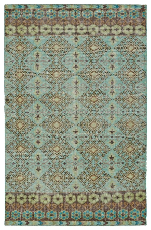 Masmoudi Hand-Knotted Turquoise Area Rug Rug Size: Rectangle 5'6