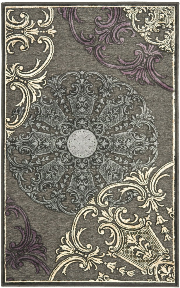 Saint-Michel Charcoal Floral Rug Rug Size: Rectangle 8' x 11'2
