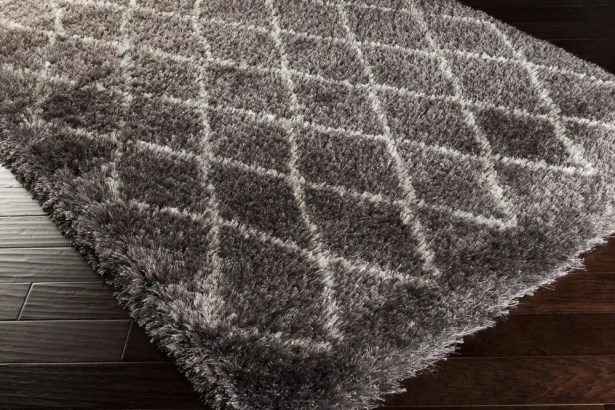 Evelyn Hand-Woven Pewter Shag Area Rug Rug Size: Rectangle 9' x 12'