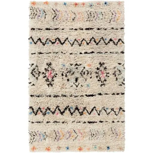 Hylton Hand-Knotted Neutral/Black Area Rug Rug Size: Rectangle 6' x 9'