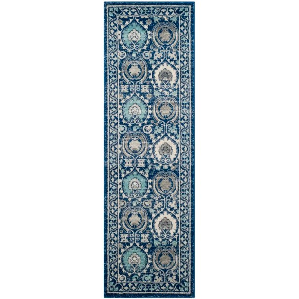 Aegean Blue/Ivory Area Rug Rug Size: Rectangle 9' x 12'