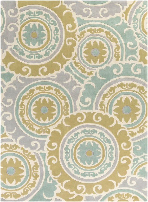 Tripolia Hand-Tufted Moss/Gray Area Rug Rug Size: Rectangle 8' x 11'