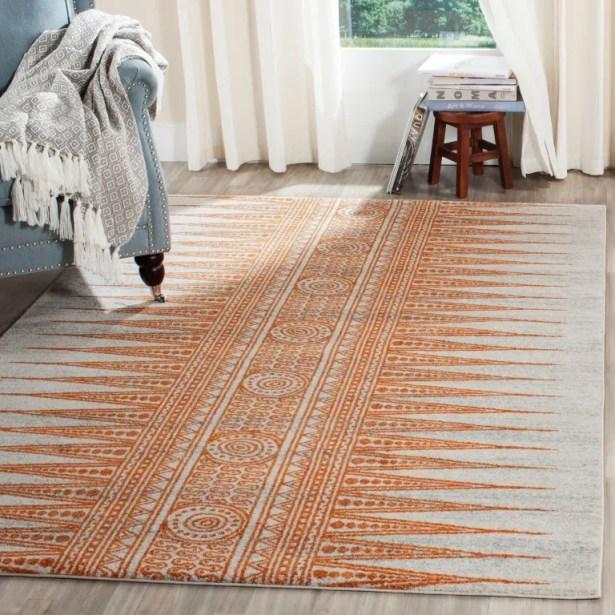 Elson Ivory/Orange Area Rug Rug Size: Rectangle 5'1