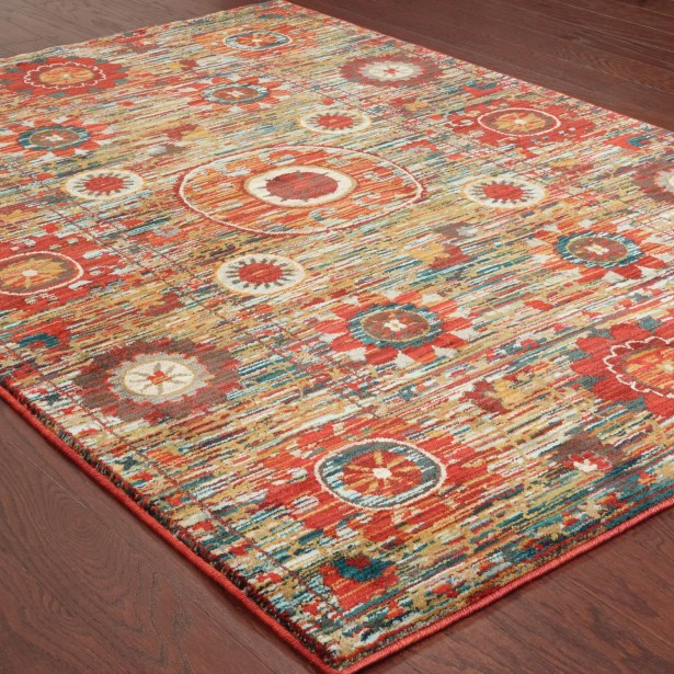 Aydan Tribal Red/Green Area Rug Rug Size: Rectangle 5'3
