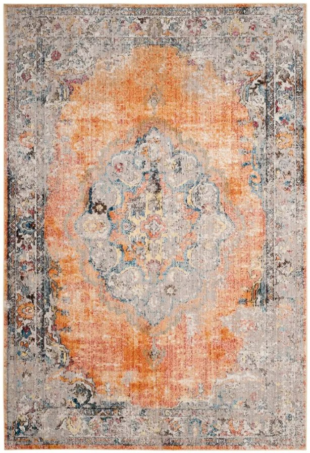 Fitzhugh Orange/Light Gray Area Rug Rug Size: Rectangle 9' x 12'
