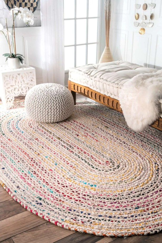 Ponder Hand-Braided Ivory Area Rug Rug Size: Oval 5' x 8'