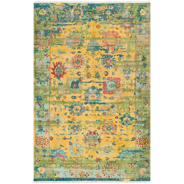 Makenna Hand-Knotted Bright Yellow/Grass Green Area Rug Rug Size: Rectangle 2' x 3'