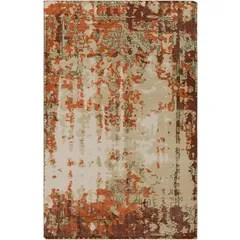 Jayden Hand-Knotted Bright Orange/Dark Red Area Rug Rug Size: 6' x 9'