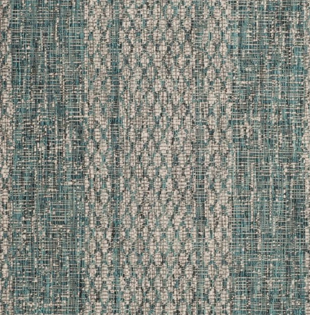 Myers Striped Light Gray/Teal Indoor/Outdoor Area Rug Rug Size: Round 6'7