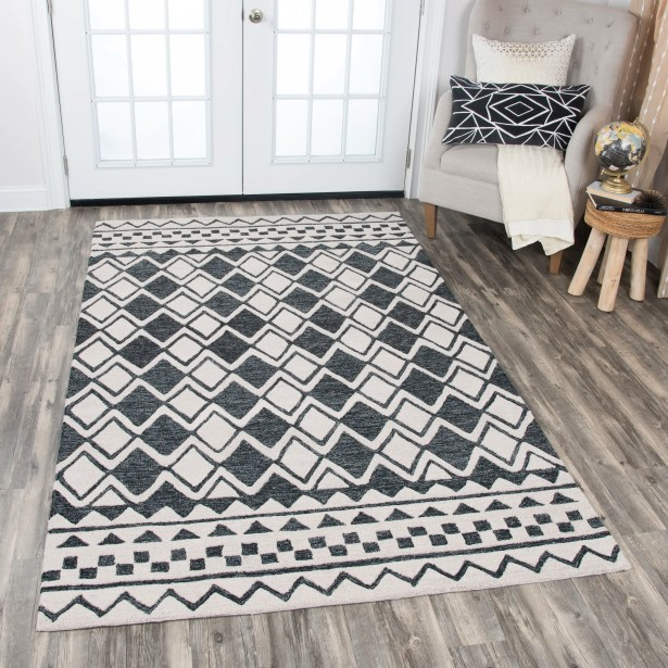 Augustus Hand-Tufted Black/White Area Rug