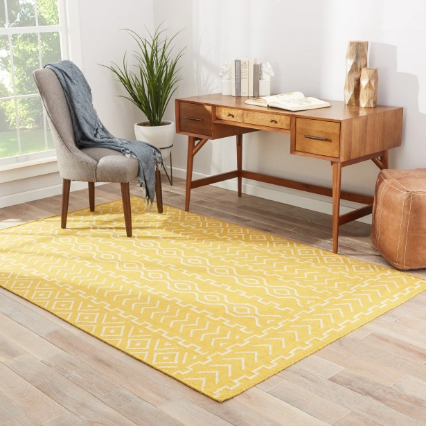 Cristopher Hand-Woven Wool Old Gold/Light Gray Area Rug Rug Size: Rectangle 8' x 10'