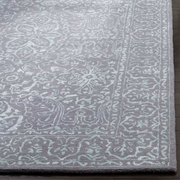 Wilkins Hand-Tufted Opal/Gray Area Rug Rug Size: Square 6'