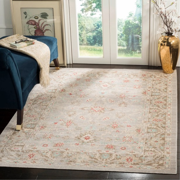 Chauncey Oriental Light Gray Area Rug Rug Size: Round 6'