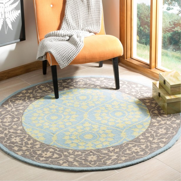 Tomo Hand-Hooked Chocolate Area Rug Rug Size: Round 5'