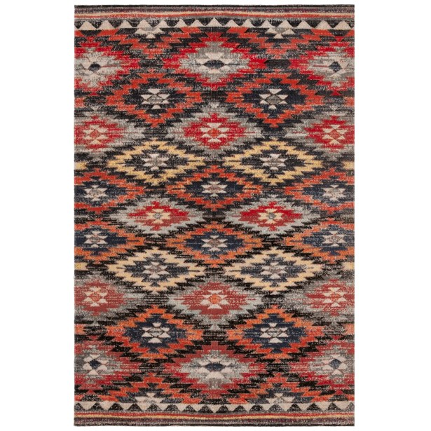 Griffeth Rust/Black Indoor/Outdoor Area Rug Rug Size: Rectangle 8' x 10'