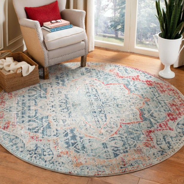 Doucet Gray/Navy Area Rug Rug Size: Round 6' x 6'