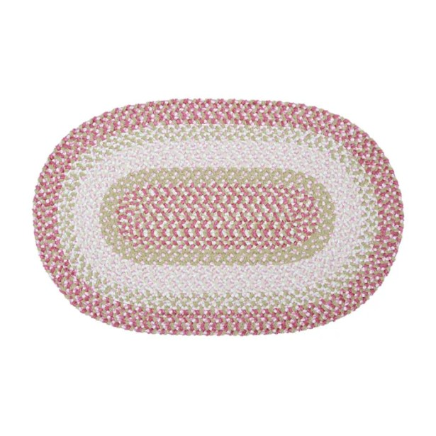 Tanya Tea Party  Hand-Braided Pink Area Rug Rug Size: Oval 4' x 6'