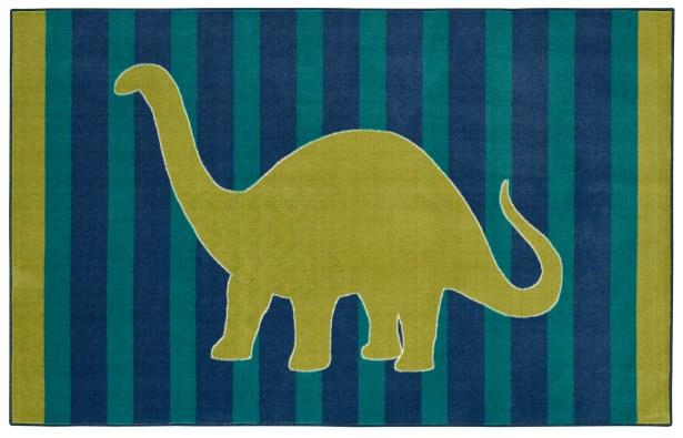 Brynn Friendly Dinosaur Blue Kids Rug