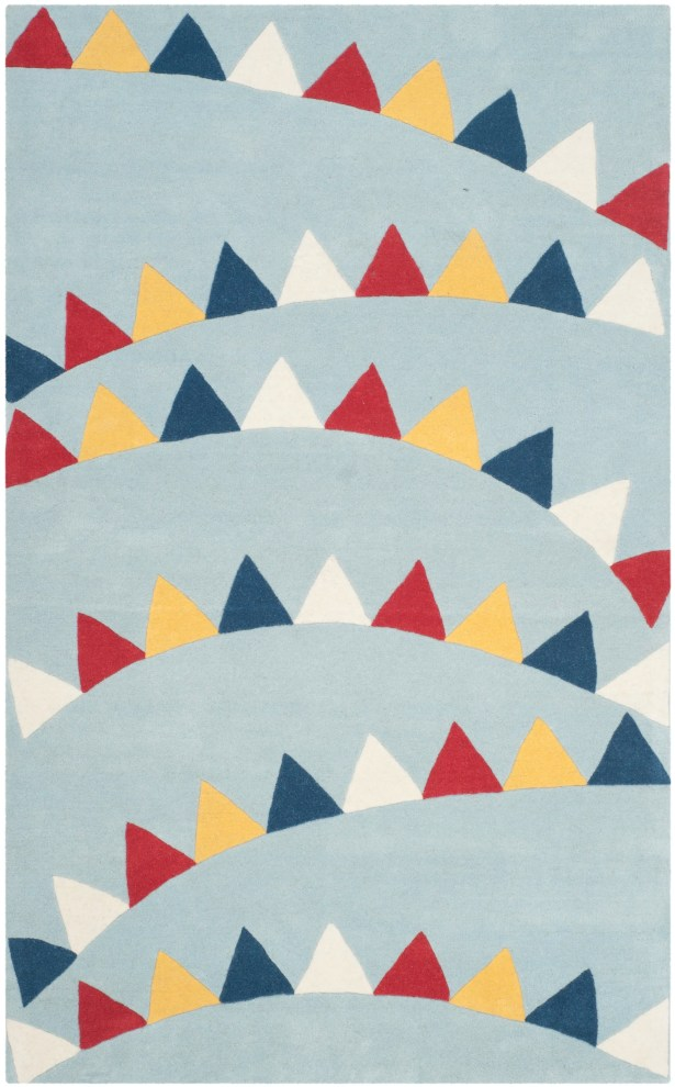 Party Time Hand-Loomed Blue/Red Area Rug Rug Size: Rectangle 4' x 6'