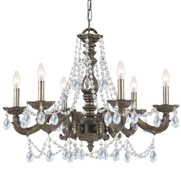Odessa 6-Light Candle Style Chandelier Crystal: Majestic Wood Polish, Finish: Venetian Bronze