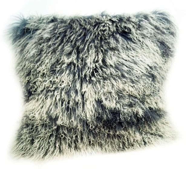 Tibetan Lamb Fur Throw Pillow Color: Gray Tipped, Size: 20