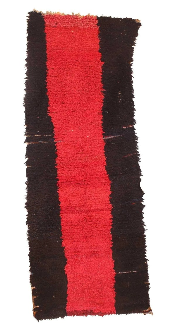 Boucherouite Vintage Moroccan Hand Knotted Wool Red/Black Area Rug