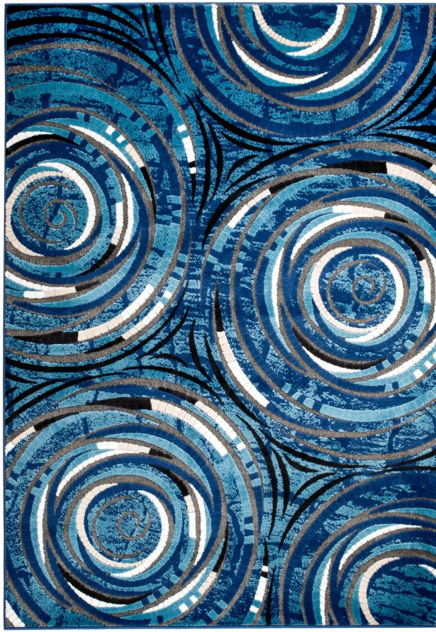 Stewartville Wool Blue/White Area Rug Rug Size: 5' x 7'
