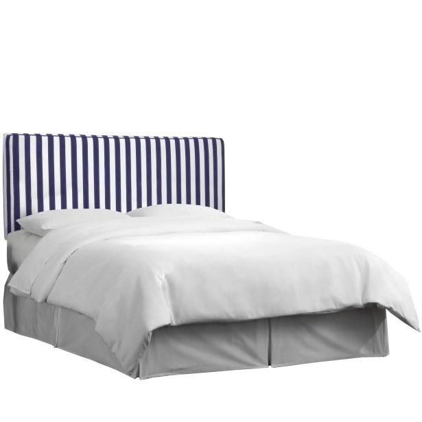 Ora Upholstered Panel Headboard Size: King, Upholstery: Canopy Stripe Blue/White