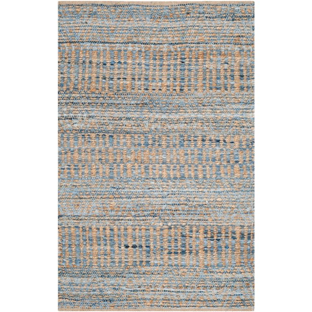 Bernd Hand-Woven Natural/Blue Area Rug Rug Size: Rectangle 11' x 15'