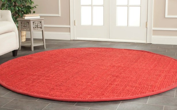 Weatherhill Hand-Woven Red Area Rug Rug Size: Round 4'