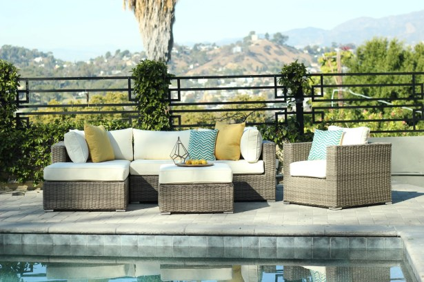 Greendale 4 Piece Sectional Set with Cushions Fabric: White Oyster