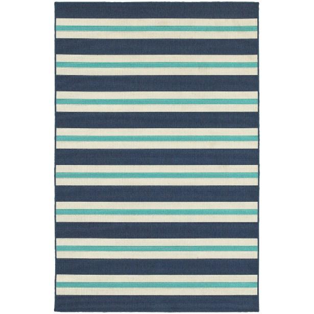 Springwater Blue/Ivory Indoor/Outdoor Area Rug Rug Size: Rectangle 7'10