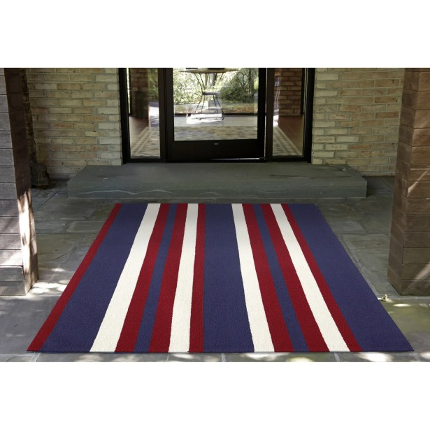 Cranford Nautical Stripe Hand-Tufted Red/Blue Indoor/Outdoor Area Rug Rug Size: Rectangle 5' x 7'6