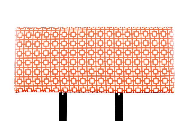 Alice Gigi Upholstered Panel Headboard Upholstery: Orange/White, Size: Full