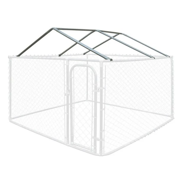 Full Steel Chain Link Dividable Galvanized Dog Kennel Roof Frame Size: 19.6