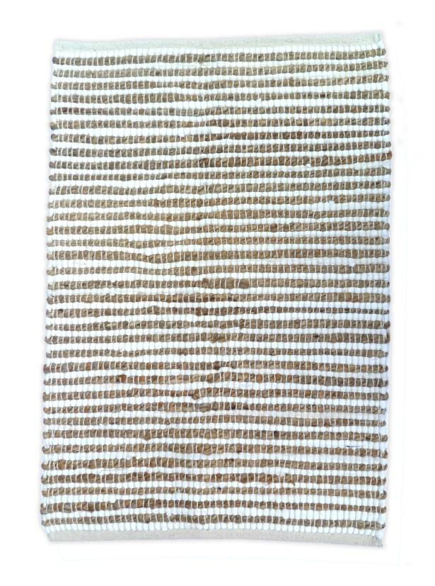 Sand Stripe White/Natural Area Rug Rug Size: 4' x 6'