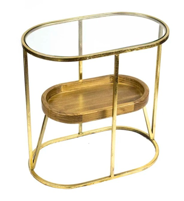 Metal/Glass/Wooden End Table