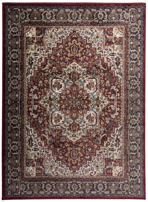 Dunstable Traditional Red/Blue Area Rug Rug Size: Rectangle 5'3