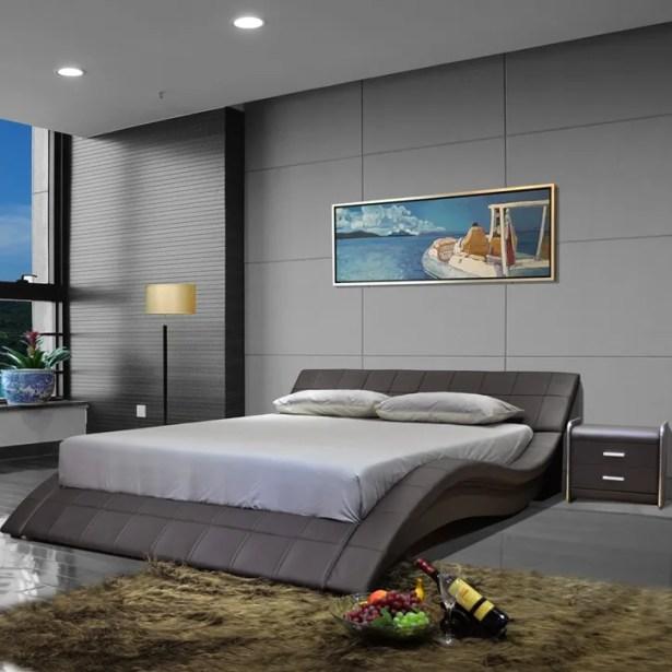 Upholstered Platform Bed Size: Queen, Color: Dark Brown