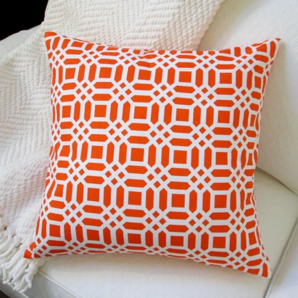Vivid Lattice Cotton Throw Pillow Color: Orange