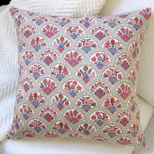 Oriental Hand Fan Cotton Throw Pillow